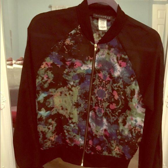 Sheer black & floral zip up blazer This sheer black & floral zip up blazer is very trendy & cute. Gold zipper. Size small. Jackets & Coats Blazers