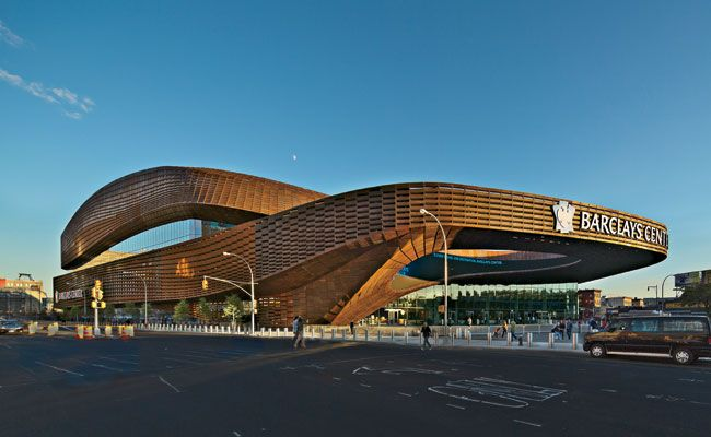 Barclays Center by SHoP Architects.  http://archrecord.construction.com/projects/Building_Types_Study/stadiums/2012/Barclays-Center-SHoP.asp#