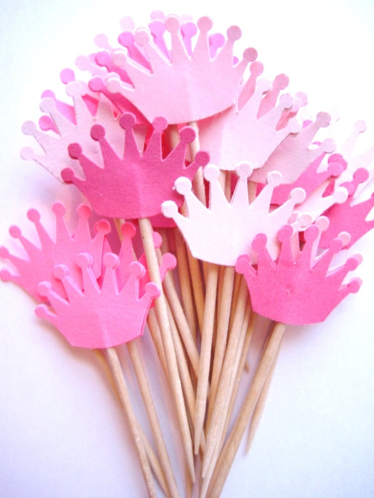 24 Mixed Pink Crown Party Picks - Cupcake Toppers - Toothpicks - Food Picks - die cut punch FP163. $3.99, via Etsy.