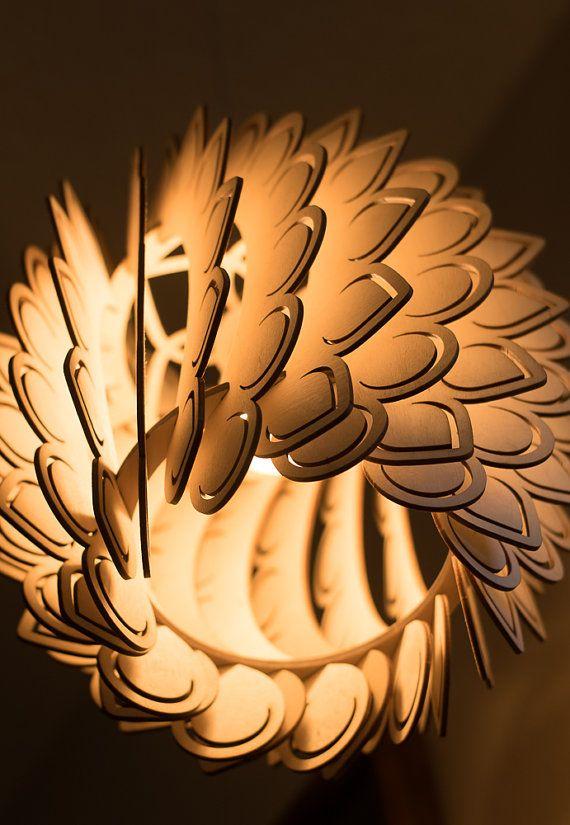 Petals  Winged Pendant Light  Lamp Shade  Laser Cut Wood