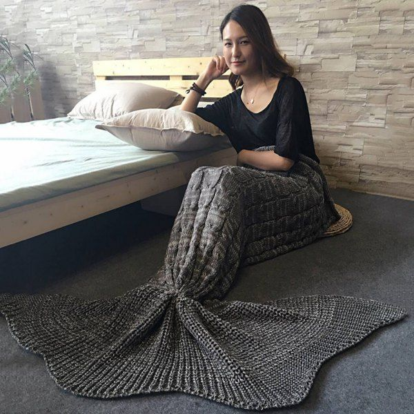 Chic Style Solid Color Knitted Braid Mermaid Tail Blanket For Adult (GRAY) in Blankets & Throws | DressLily.com