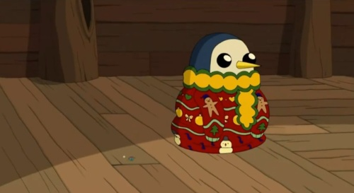 Adventure Time gunther in a christmas sweater soo cute