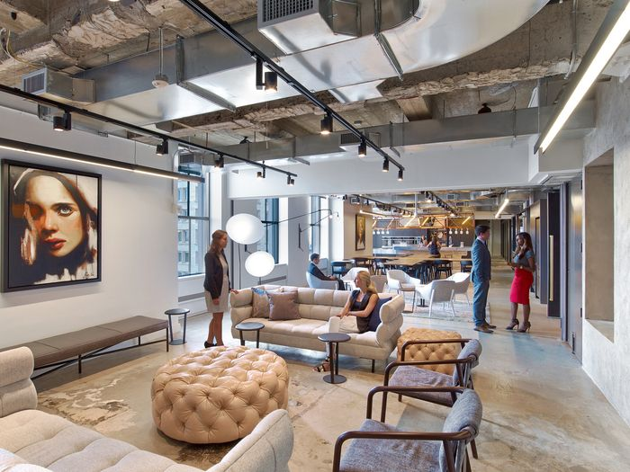 rockwell group has designed the new offices of entertainment and talent agency wmeimg in base group creative office