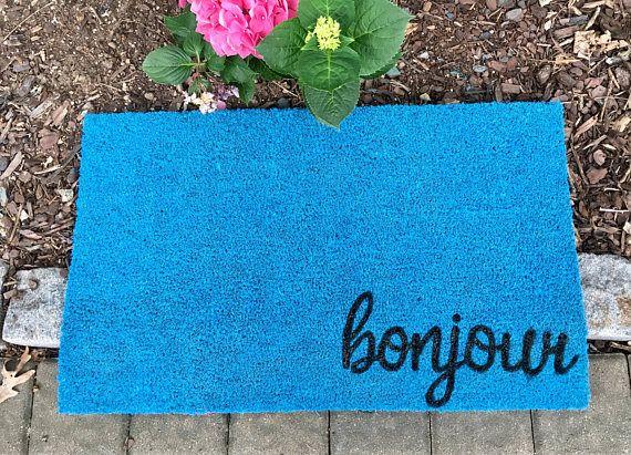 Bonjour Door mat Custom Door Mat Welcome Mat Teal Blue Door