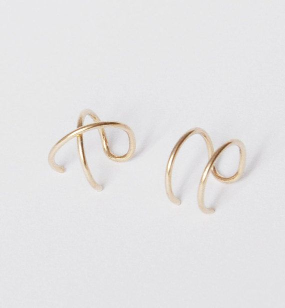 Set of 2 Ear Cuffs, Ear Cuff, Double Ear Cuff and Criss Cross Ear Cuff,No…