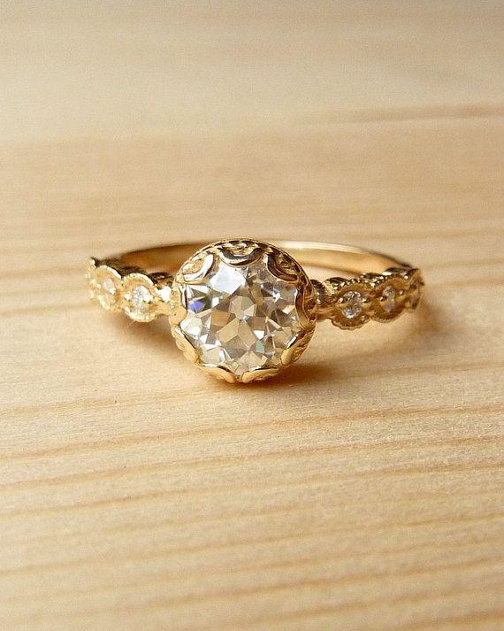 Scalloped Bezel Moissanite Ring by kateszabone on Etsy, $1595.00