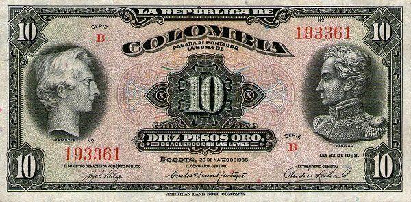 Billete: 10 Pesos Oro (Colombia) (1938 Pesos Oro Issue) Wor:P-342