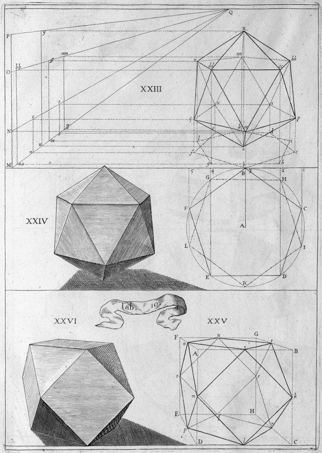 Icosahedron and Cubeoctahedron Jean François Niceron, La Perspective Curieuse, 1663