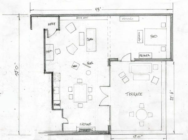 Neal caffrey 39 s apt from white collar hypothetically i for Studio apartment blueprints