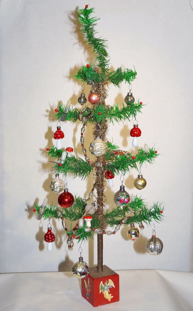 German glass ornaments - Antique German Goose Feather Tree With Antique Glass Ornaments And Red Wooden Base With Angel Decoration