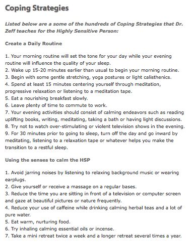Coping Strategies for the Highly Sensitive Person, page 1 of 2.