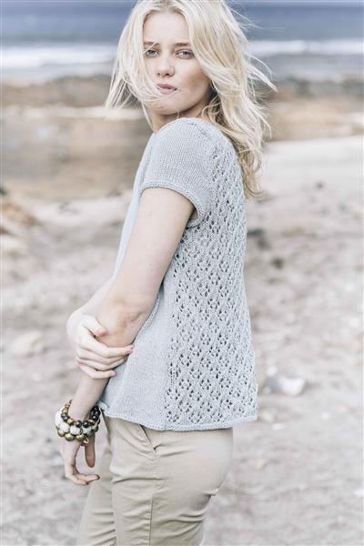 1505: Design 3 Topp med hullmønster #Line #bomull #cotton #lin #linen