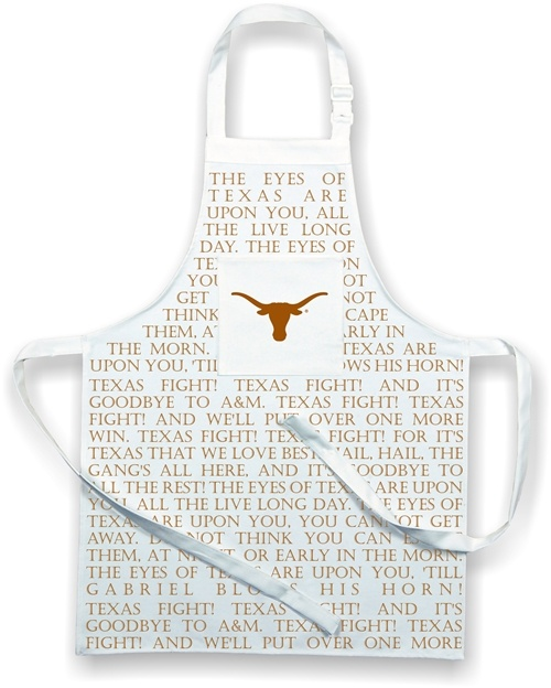 The Eyes of Texas are upon you apron  $28 Made in the USA all cotton canvas apron with the Eyes of Texas, University of Texas Fight Song printed across the front. Features large pocket with longhorn logo. One size fits most. Great for BBQ, Grad gift, fathers day..pair it with the chefs hat! #Made in the USA #Texas Longhorns www.desden.com