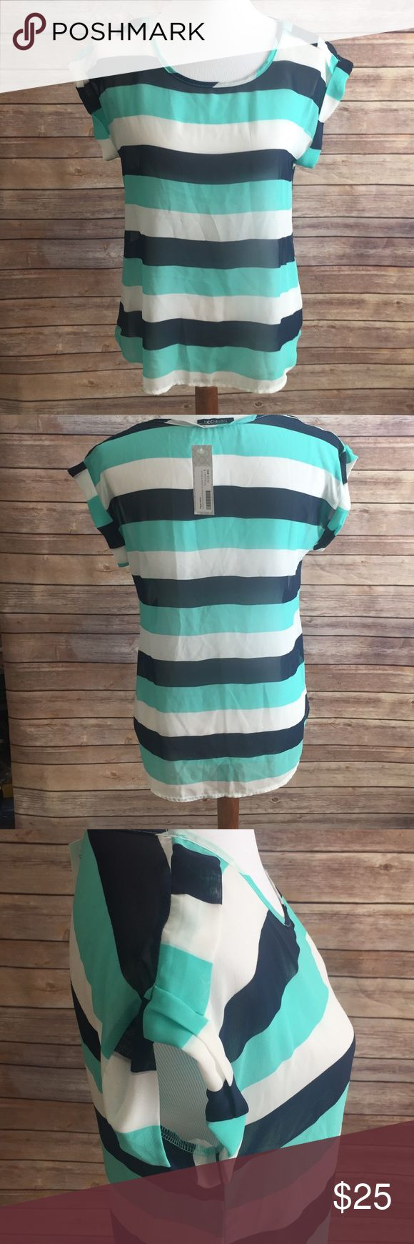 Stitchfix top with blue teal and white stripes Super cute top perfect for spring. Note that this top is sheer so it will require a Cami or will work as a beach top. Tops