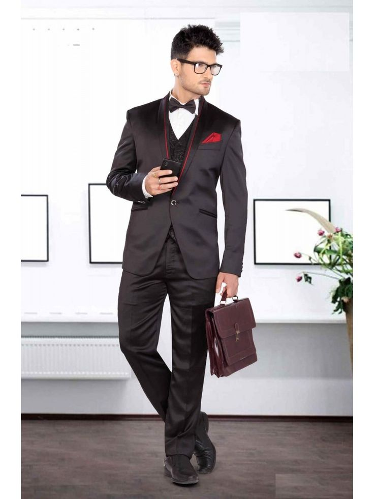 Solid Satin Men Suit