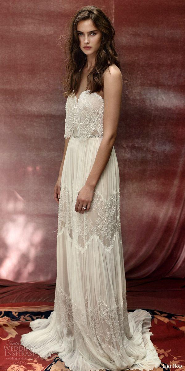 lihi hod bridal 2016 roseberry weding dress illusion strap sweetheart necklin lace top bohemian lace skirt profile