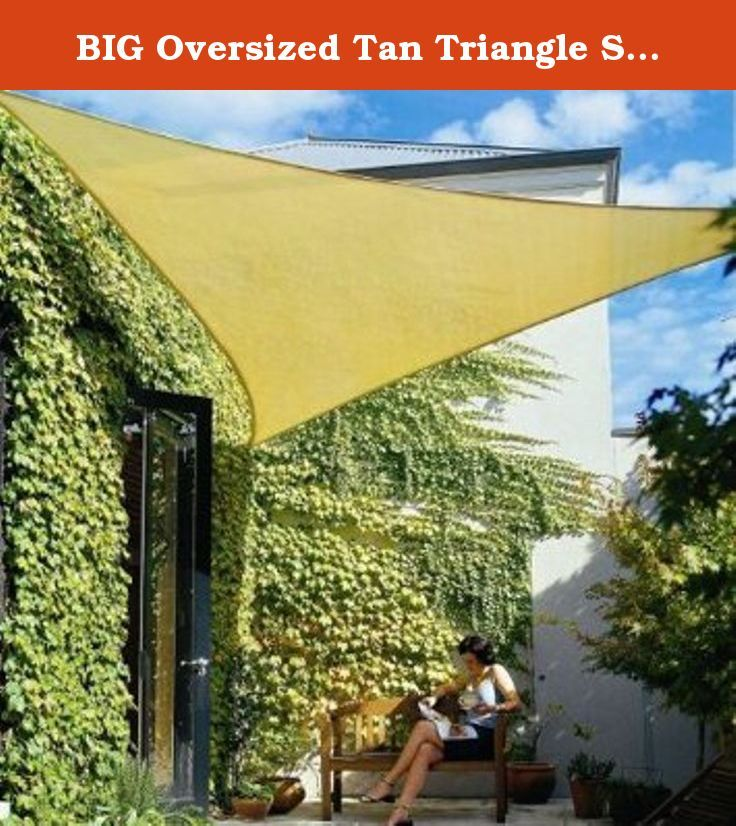 """BIG Oversized Tan Triangle Sun Shade Tarp Blocker Sail 16.5' Desert Sand Color. Triangle shade sails are ideal for gardens, entryways, children's play area, patios and pools. Constructed of high density polyethylene weave fabric, it blocks 95% of the sun's dangerous UV rays while """"breathing"""" to allow air to circulate and keep the environment underneath much cooler. With its breathable design it will also allow water to filter through. It is color fast and won't rot, mildew or mold. Shade..."""