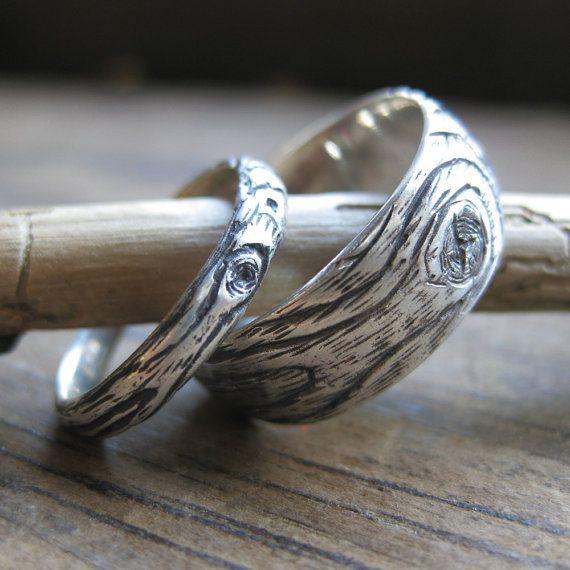wood grain wedding ring PLYWOOD sterling silver by ballandchain, $150.00