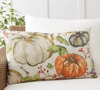 Watercolor Painted Pumpkin Patch Indoor/Outdoor Lumbar Pillow #potterybarn