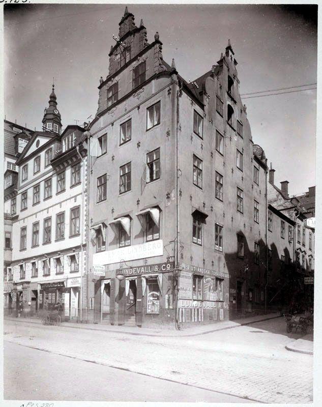 Hörnhuset Kornhamnstorg 53 och Funckens Gränd - Stockholmskällan