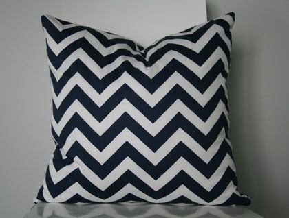 Beautiful Chevron Cushion Cover, Classic Navy and White