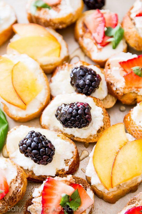 Toasted bread, honey and goat cheese, and fresh seasonal fruit come together in this easy appetizer!
