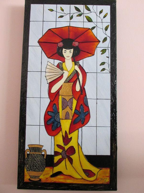 Geisha Faux Vitrail Sur Toile Fond Acrylique Stained