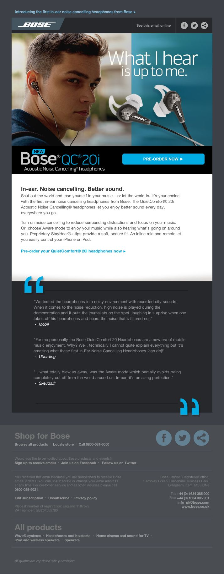 This email from sound lovers Bose certainly makes