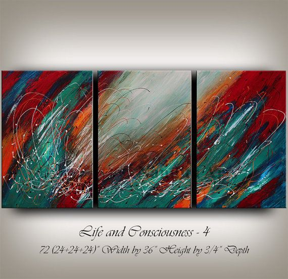 Large Wall Art Blue Acrylic ABSTRACT PAINTING Wall Decor