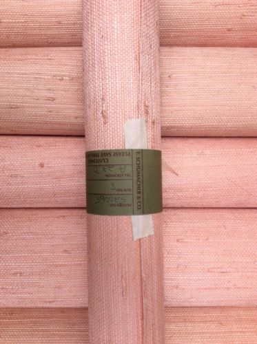 Schumacher-Natural-Handcrafted-Grasscloth-Wallcovering-Pink-Grapefruit: Palest Apricot