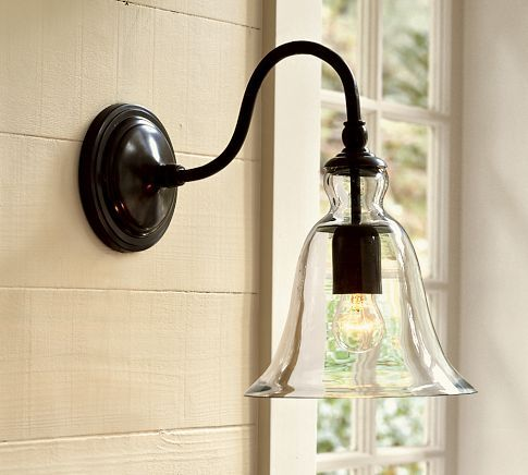 pottery barn  pretty for entry or for front Rustic Glass Sconce, Clear