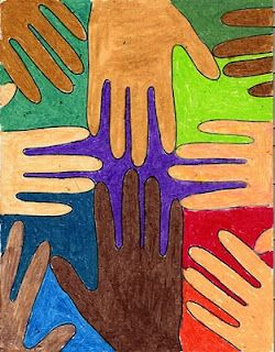 many colored hands project from art projects for kids...hmmmmm might make a really cool art auction classroom project too - have the kids do different graphic designs on each of their hands...