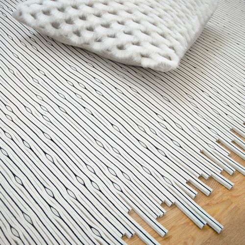 super cool rug made with strips of felt. there's a version with miniature LED lights in it too. sooooooo sweet.