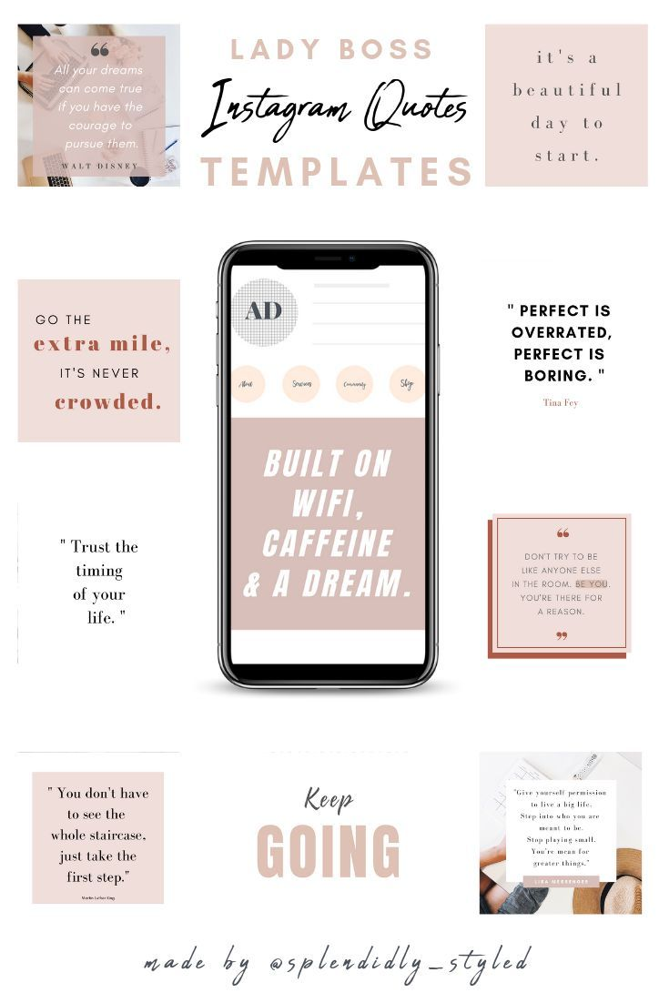 Canva Lady Boss Inspirational Instagram Quotes Set Of 20 Quote