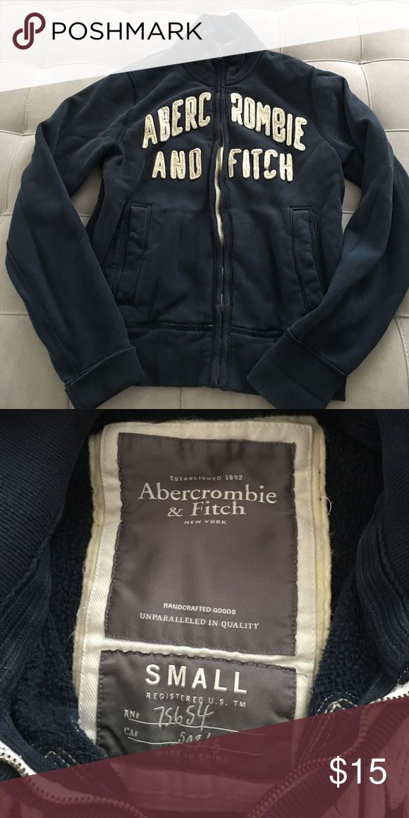 Abercrombie and Fitch zip up sweatshirt Navy zip up sweatshirt. Good condition and very comfortable!  Size men's small. I wore as a women's medium. Abercrombie & Fitch Sweaters Crew & Scoop Necks