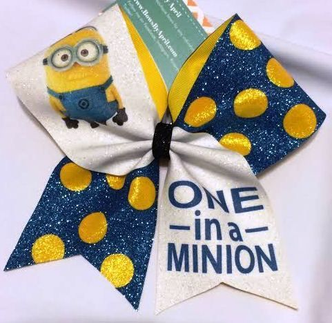 Bows by April - One in a Minion Glitter Cheer Bow, $22.00 (http://www.bowsbyapril.com/one-in-a-minion-glitter-cheer-bow/)