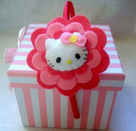 diademas-fieltro-hello-kitty  - Diademas con fieltro de Hello Kitty