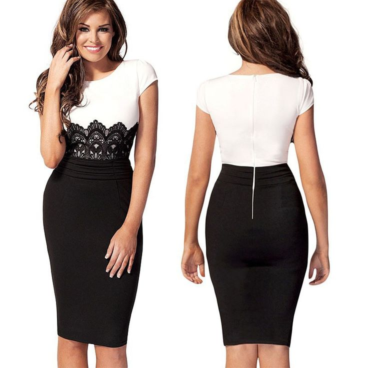 New 2014 women black white patchwork bodycon bandage dress,brand designer lace backzip vintage party dresses S-XL Free shipping $26.52