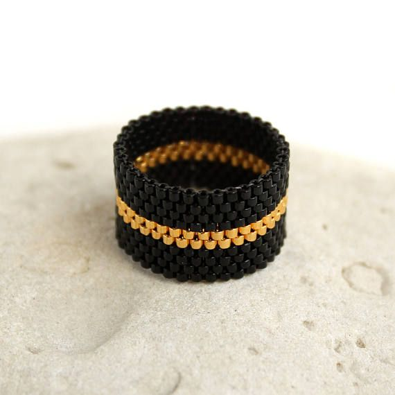 Black and gold ring Stylish ring for women Unique ring for her Boho seed bead jewelry Womens wide band ring size 4 5 6 7 8 9 10 11 12 13 14 Black and gold ring Stylish ring for women Unique ring for her Boho seed bead jewelry Womens wide band ring size 4