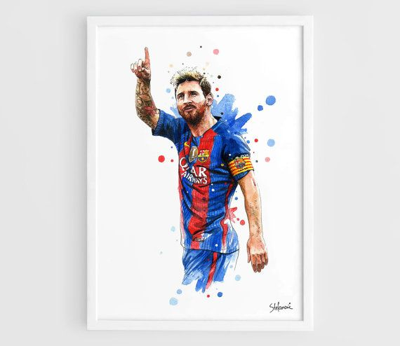 This is Lionel Messi Barcelona FC 2016 Kit Art Poster of my original Watercolor Painting. See more Art Print Football Posters with Barcelona FC. https://www.etsy.com/shop/NazarArt/search?search_query=Barcelona These Wall Art Print Poster will be perfect for your interior design, as well as