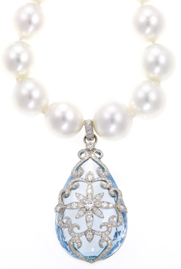 Platinum and Diamond Aquamarine Pendant Necklace by Erica Courtney®