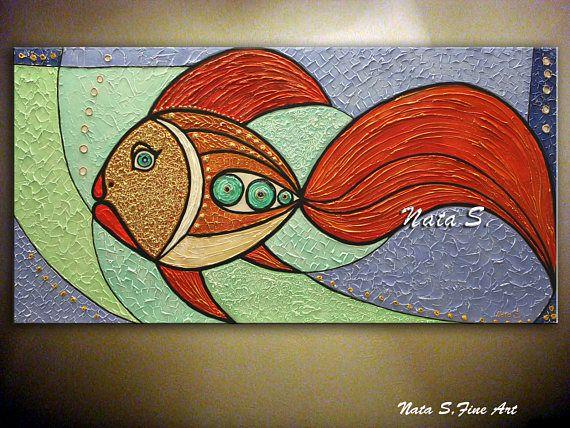 Originale pesce pittura astratta strutturata grandi opere