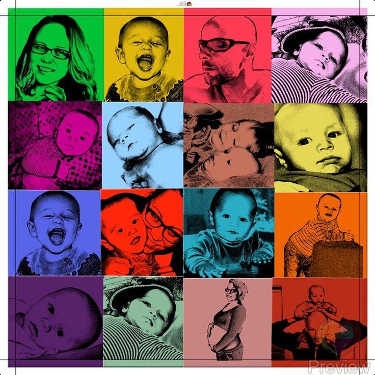 De leukste fotos bij elkaar op canvas. Pop Art collage. Gemaakt door www.personal-art.nl