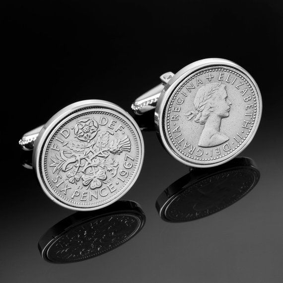 1963 Gift Ideas-50th Birthday Present-1963 Old English sixpence- Genuine coins from England-Cufflinks for Men, $69.00