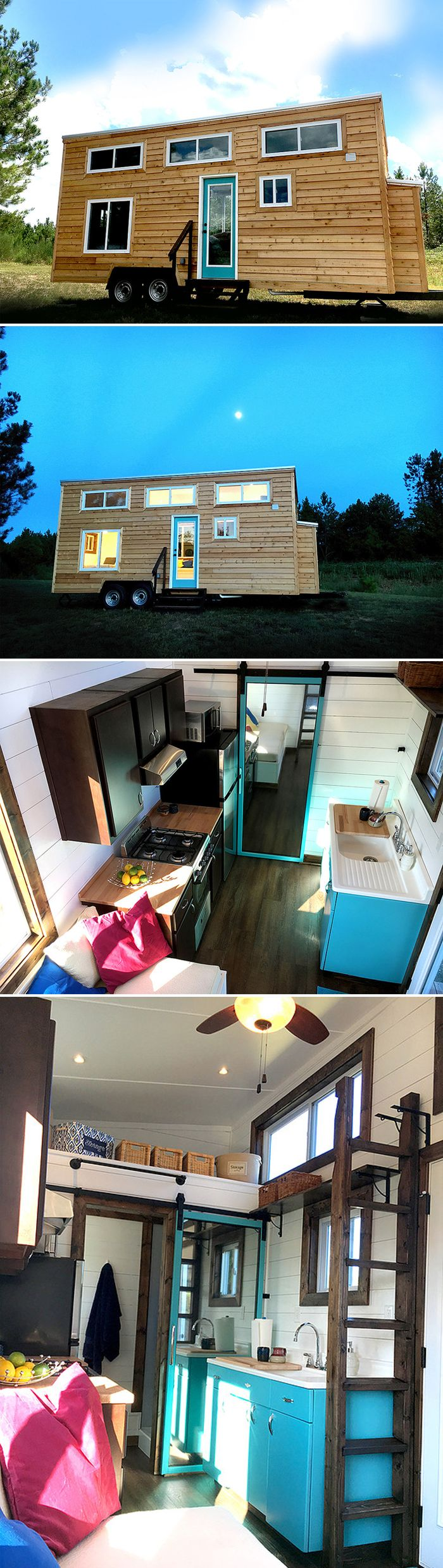 A 270 sq.ft. tiny house with main floor queen bed and a king loft. In the kitchen is the home's namesake: a vintage 1940s steel Youngstown by Mullins sink.