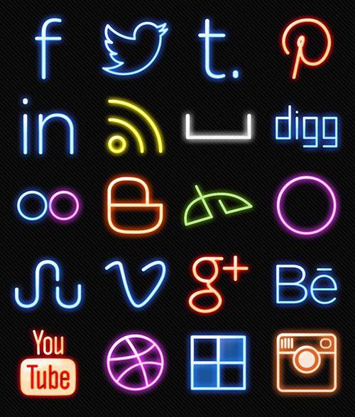 Neon-Lights-Free-Social-Media-Icons-2014