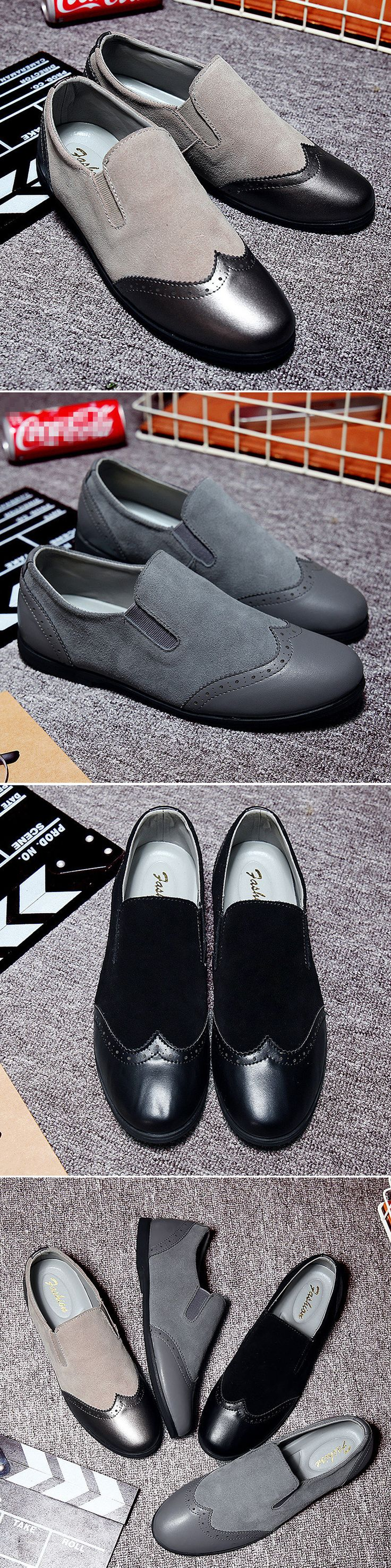 Men Carved Brogue Suede Splicing Color Blocking Flat Casual Slip-on Shoes