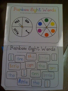 Rainbow sight words- spin a word and spin a color. Write the word in that color.