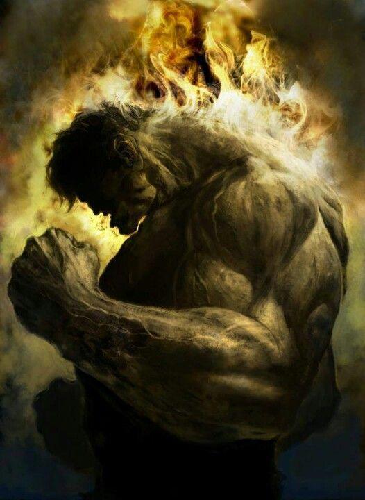 Hulk staat in vuur en vlam XD