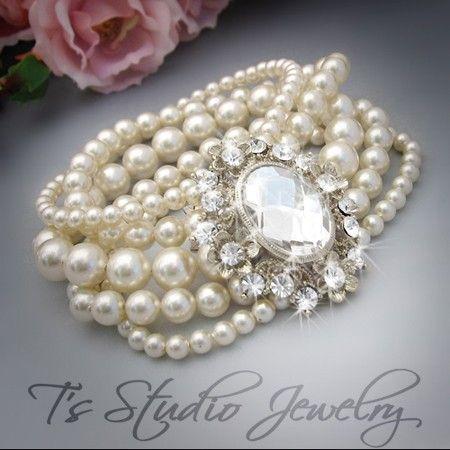 pearl cuff bracelet from TZTUDIO Etsy
